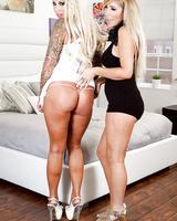 Blonde chicks Lolly Ink and Tasha Reign rub huge juggs together