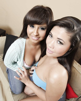 Asian sexpot London Keyes and her friend Jade Kennedy flash juicy boobs