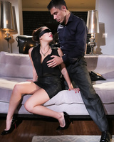 Blindfolded Asian wife London Keyes forced to have sex with her hubby