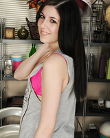 Brunette teenager Miranda Miller undressing down to pink bra and underwear