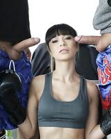 European brunette Mona Kim taking anal during MMF threesome in office