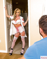 Blonde gf nadia Hilton licking dick POV style in nurse uniform