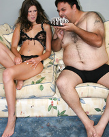 Brunette female Nadia Rio gets covered in cake mess having sex with a fat man