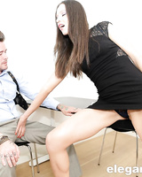 Thin office worker Nataly Gold invites a coworker to fuck her in the ass
