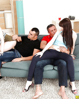 Young hotties Natty Mellow and Luna Rival sport creampies after foursome fuck