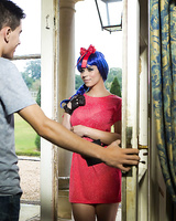 Cosplay attired Nekane Sweet greeting her date with big tits and oral sex