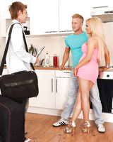Jenna Lovely enjoys a threesome groupsex with bi-sexual guys