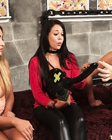 Stella Ferrari and her gf play kinky lesbian sex games for money