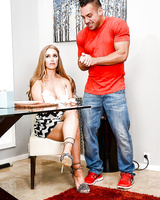 Pornstar Alexis Fawx having pussy licked out in high heels before giving BJ