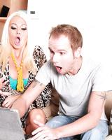 Blonde cougar Nikita Von James seduces a laptop repairman for hard sex