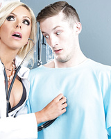 Hot female doctor Nina Elle gets jizz on her face thanks to a patient of hers