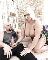 Blonde Mexican BBW Nina Kayy jerking and blowing large penis