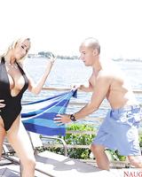 Blonde MILF Olivia Fox exposing big boobs before sucking off large dick