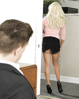 Hot blonde Olivia Fox seducing her boss at work in tan stockings and skirt