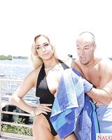 Busty female Olivia Fox shedding swimsuit before fucking big cock on balcony