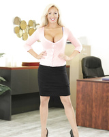 White-haired secretary Olivia Fox opens legs in stockings on boss' table