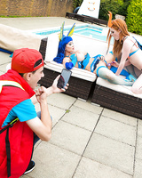 Cosplay attired pornstars suck and fuck massive cock outdoors by pool