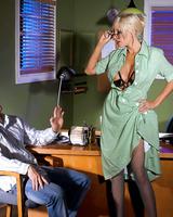 Leggy blonde Puma Swede torments and fucks a man in black heels