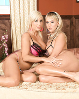 Blonde chicks have their lesbian session interrupted for a three-way fuck