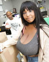 Ebony with huge saggy tits Rachel Raxxx makes white dick cum in gloryhole room
