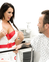 Big boobed nurse Reagan Foxx gets banged by a doc after flashing her hooters