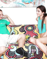 Skinny brunette in pigtails gives older man a CFNM handjob on couch