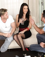 Raven haired chick Samia Duarte seduces two men for DP and cum tasting session