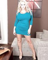 Blonde Euro babe Dolly Fox loosing huge juggs from dress in high heels
