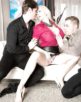 Buxom blond Euro mom Sandra Star giving and receiving oral sex in threesome