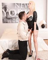 Busty blonde Sandra Star tit fucking cock before hardcore sex