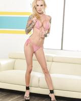 Blonde in high heels Sarah Jessie masturbates by using her favorite sex toy