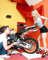 Busty tattooed girlfriend Sarah Jessie gets banged and facialed by a biker