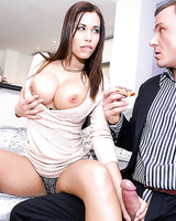 Busty euro housewife Satin Bloom gives stranger a sloppy blowjob