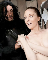 Nude female Scarlett Fay gets sexually intimate with cosplay attired man