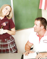 Giggly teen Scarlett Fay fucking with her teacher after classes