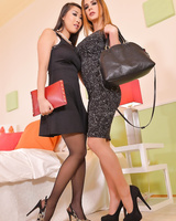 Sexy businesswomen Dorothy Black & Sharon Lee worship each other's feet in 69