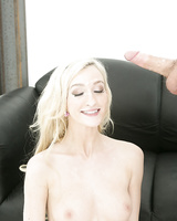 Blonde Skylar Green is getting a nice load on her tiny boobies
