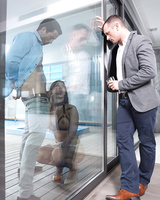 Spanish chick Susy Gala fucks a man while hubby watches on other side of glass