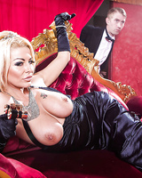 Big tits milf Tia Layne is sucking big cock in a black dress