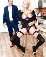European blonde MILF Tia Layne taking hardcore kitchen sex in stockings
