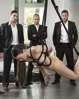 Bound up brunette Tiffany Doll gets a hard DP in rough BDSM gangbang