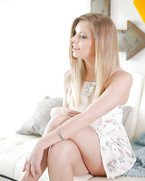 Cute amateur blonde Trisha Parks posing solo in summer dress and panties