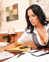 Brunette business woman Vanilla Deville gets massage and sex from an employee