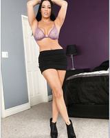Busty brunette MILF Vanilla DeVille stripping and teasing her cunt