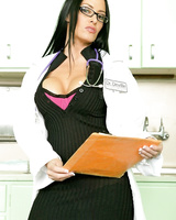 Brunette lady doctor Vanilla Deville frees her juggs from lab coat and dress