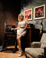 Hot blonde MILF Vittoria Risi strips off her dress and white pretties in heels