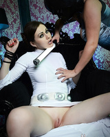 Cosplay babes Yuffie and Tina Kay pleasure each other's love tunnels