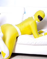 Solo model Yuffie Yulan removes her Power Ranger outfit before masturbating