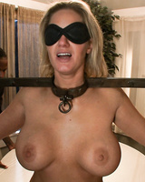 Bondaged and blindfolded MILF Zoe Holiday was fucked by group of men