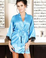 Intelligent babe Nadia wears sexy, blue underwear and looks splendid